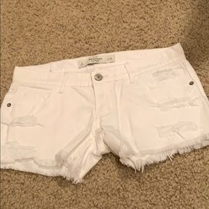 Abercrombie and Fitch white denim jean shorts